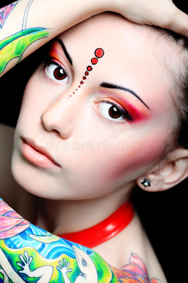Colored tattoo royalty free stock images