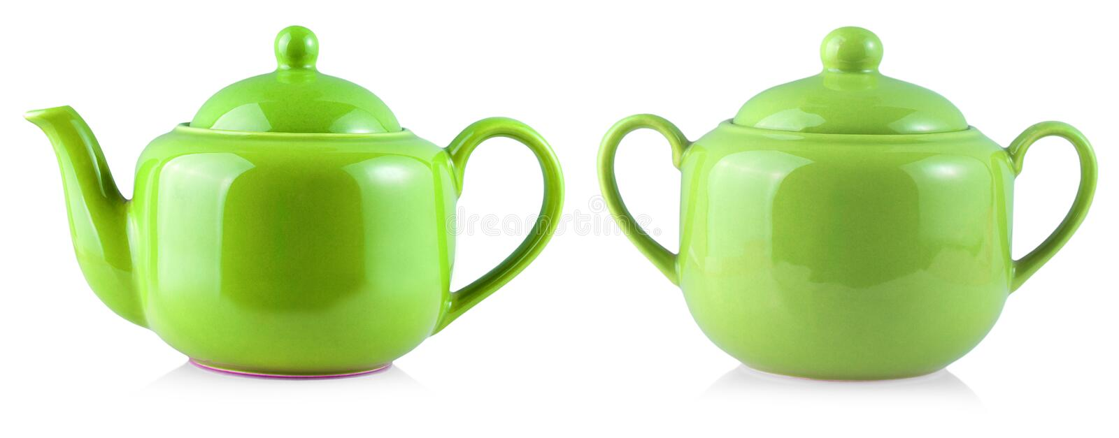 The Colored Teapot Kettle and sugar bowl Isolated On White Background. Colored Teapot Kettle and sugar bowl Isolated On White Background stock images