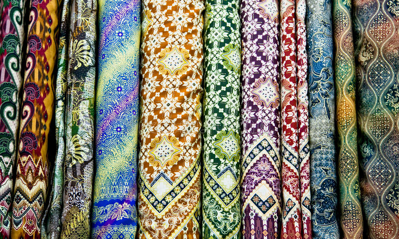 Download Colored Textile In A Traditional East Bazaar, Yogyakarta On Java Stock Photo - Image: 29157272