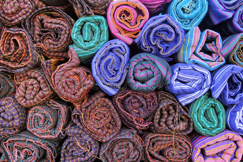 Colored Textile In A Traditional South East Asia. Thailand. Royalty Free Stock Photography