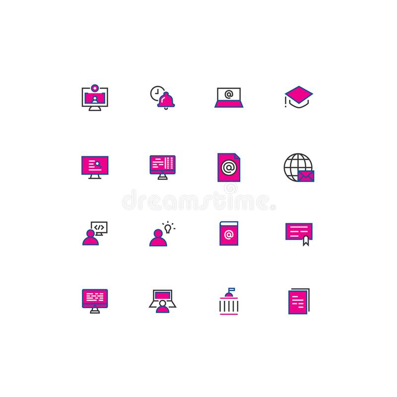 16 education colored thin line icons. vector illustration