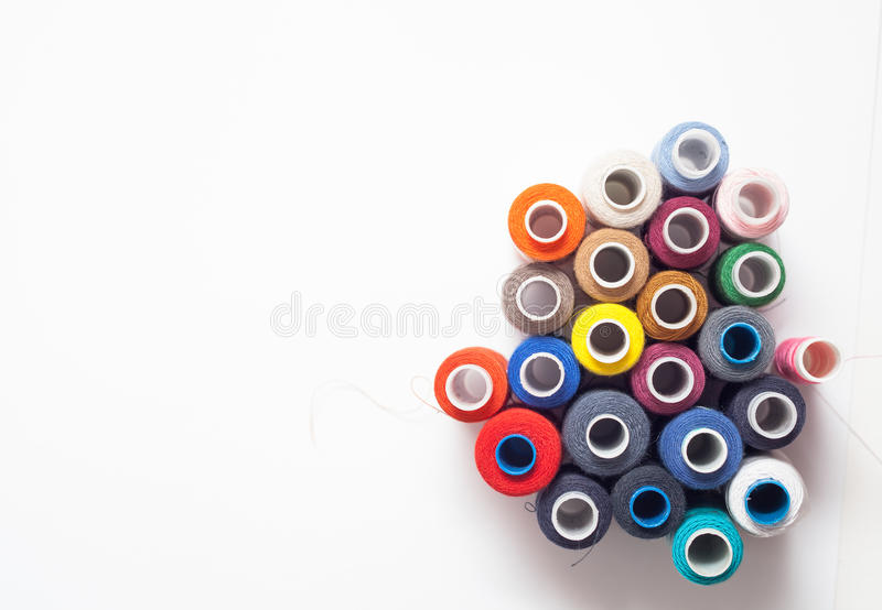 Download Colored Thread Coils On White Background, Sewing Tools Stock Image - Image of cotton, dressmaker: 89495953