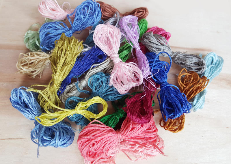 Colored thread for embroider a tapestry. Sewing kit stock photo