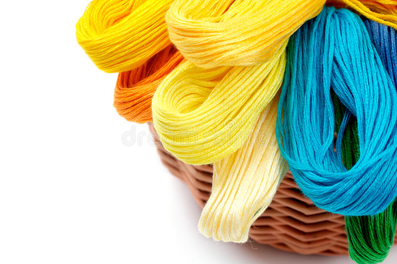 Colored Threads For Needlework In The Basket Stock Image