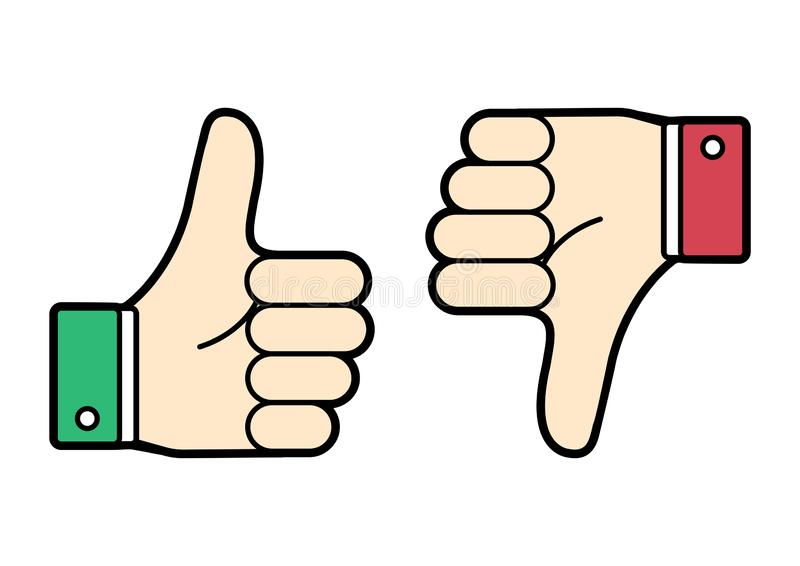 Colored thumb up and down. Green and red. Like and dislike. Vector stock illustration