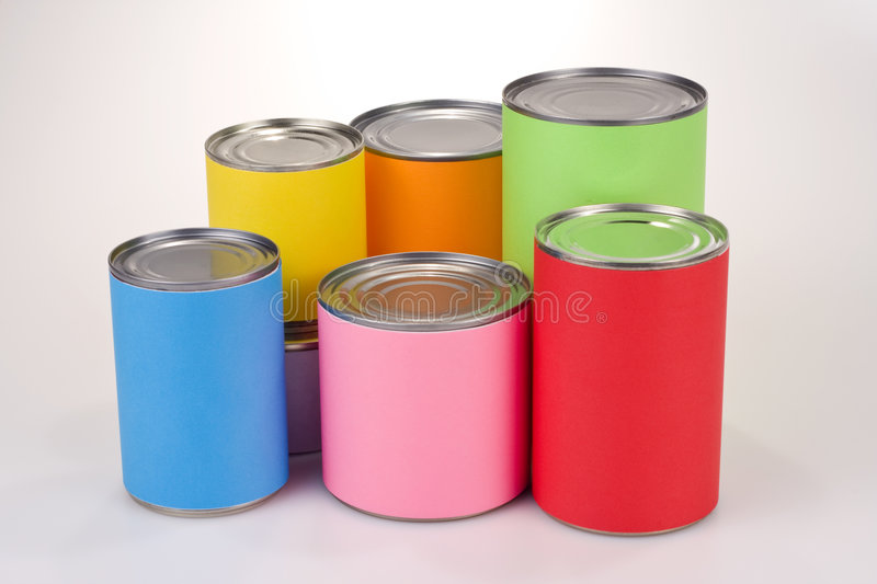 colored tin cans stock photo image 7051750