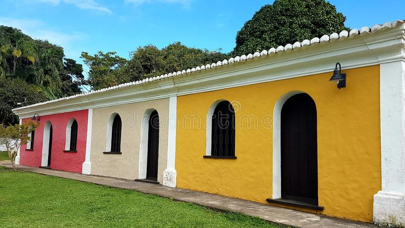 Colored tiny houses of Porto Seguro royalty free stock photos