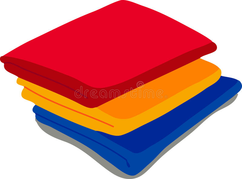 Colored towels on white background vector illustration
