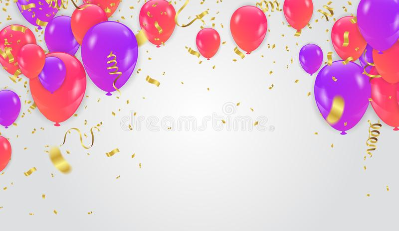 Colored and transparent balloons on the checked background. Eps vector illustration