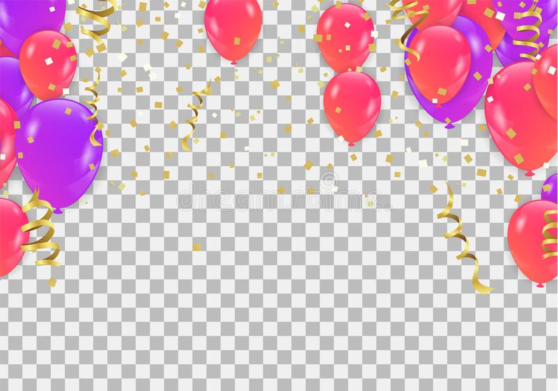 Colored and transparent balloons on the checked background isolated on transparent background. Flying latex ballons. Vector illus vector illustration