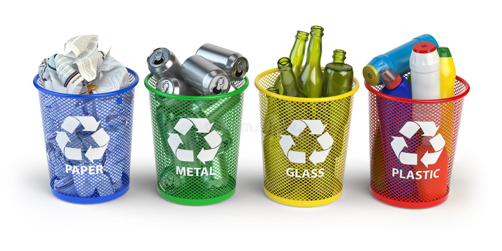 Colored trash bins for recycle paper, plastic, glass and metal i. Solated on white background. 3d illustration vector illustration