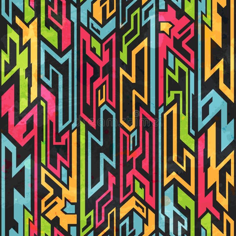 Colored tribal graffiti seamless pattern stock illustration