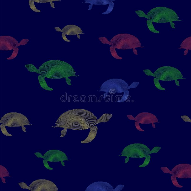 Colored Turtles Icon Seamless Pattern vector illustration