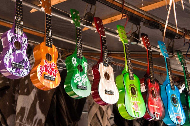 Colored ukulele royalty free stock photos