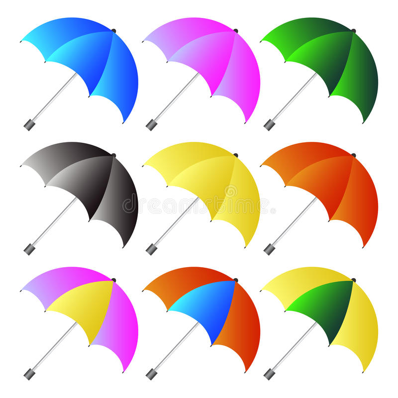 Colored umbrellas set. With white background royalty free illustration