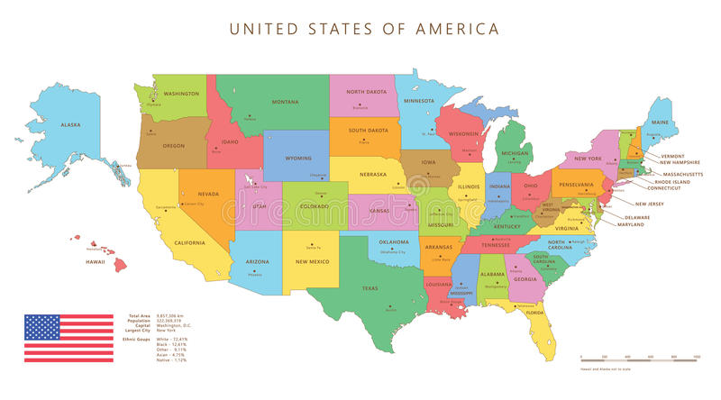 Colored United States Map With Names And Capitals Stock Vector
