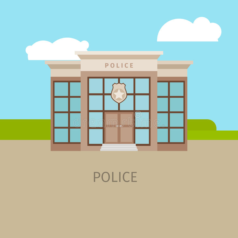 Colored urban police building vector illustration