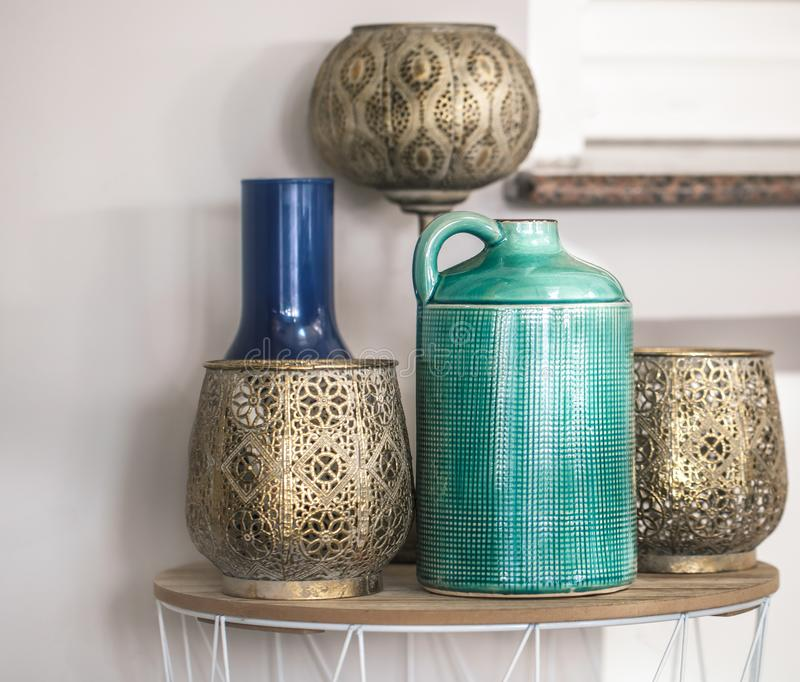Colored vases in the interior of the cafe. East style stock photos