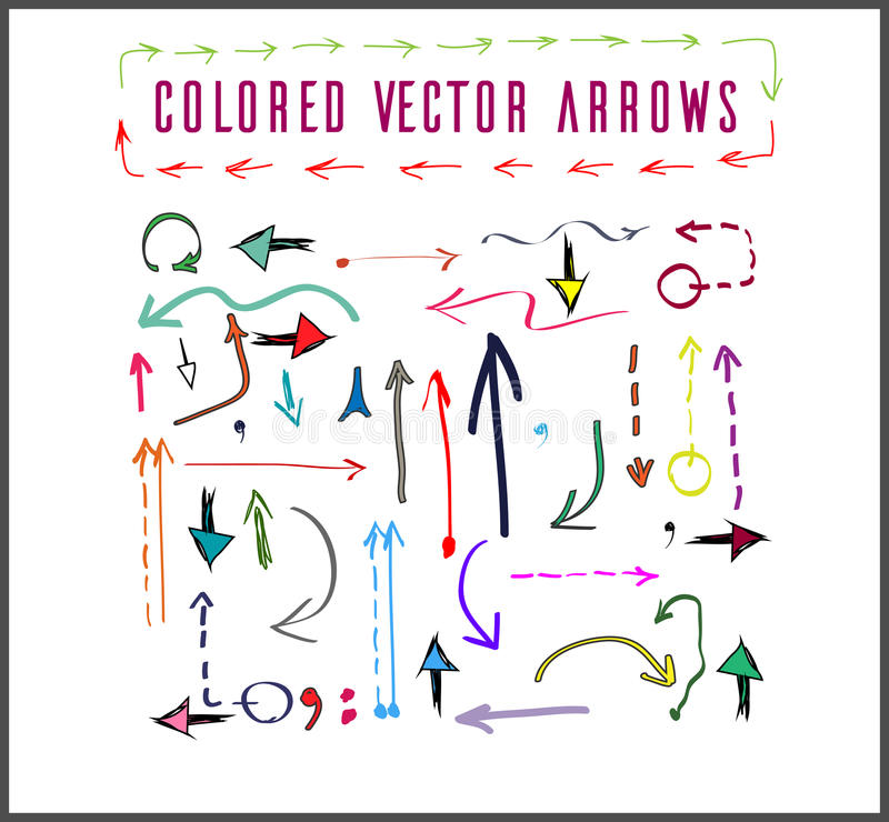 Colored vector arrows royalty free stock image