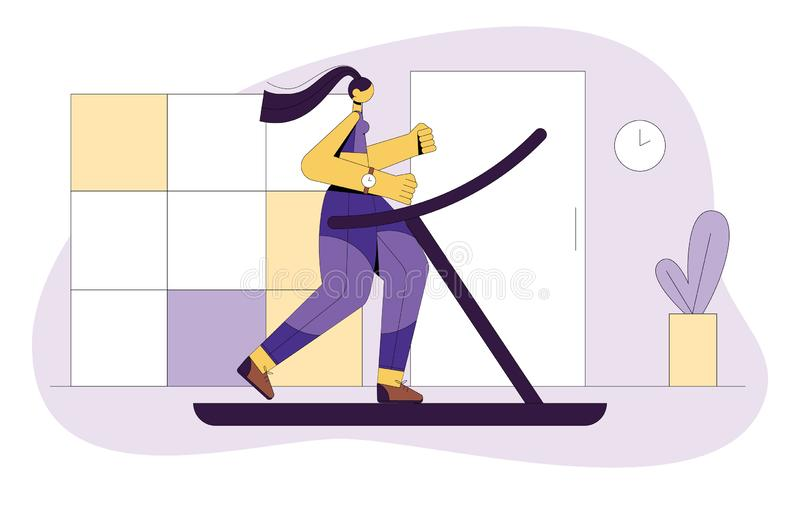 Colored vector flat style illustration of a girl running on a treadmill. stock illustration