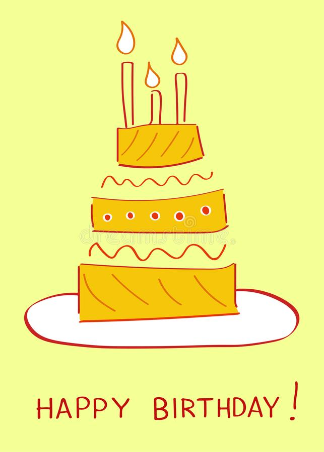 Birthday cake. Greeting card vector illustration