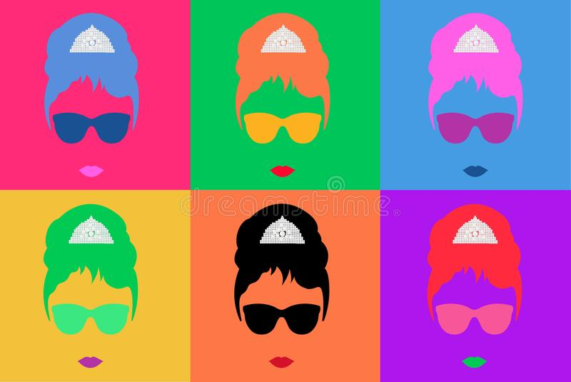 Colored Vector Illustration Pop Art Style Andy Warhol.  royalty free illustration