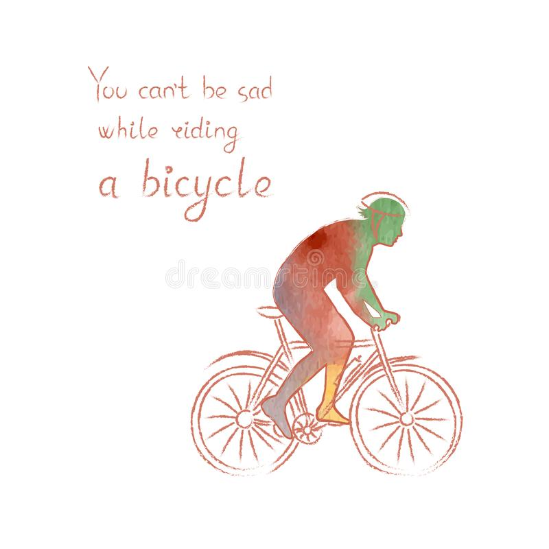 Colored vector poster with a silhouette of a man in a bicycle helmet riding a bike. Sport and leisure activity concept. Colored vector poster with a bright vector illustration