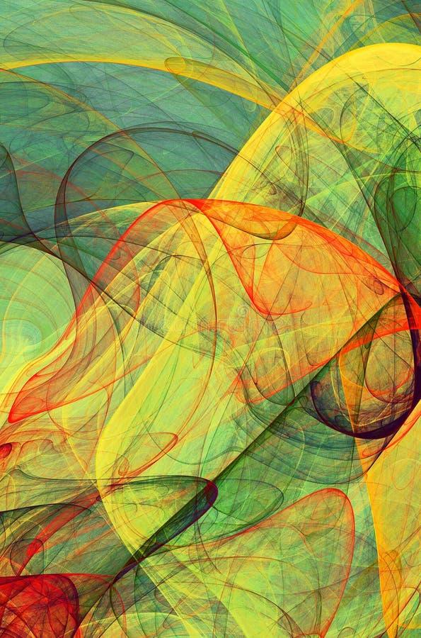 Colored veils. Fractal colored veils - psychedelic background of fluttering veil royalty free illustration