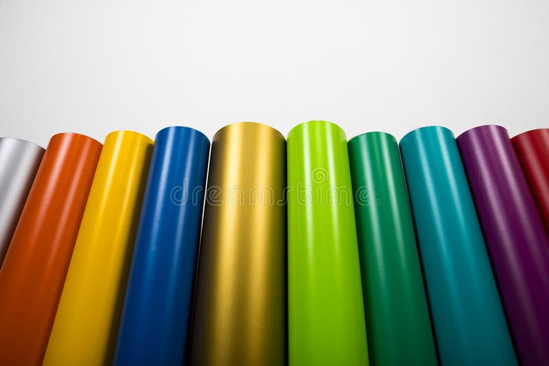 Colored vinyl rolls royalty free stock images