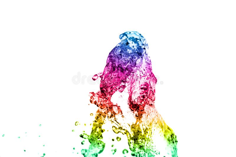 Colored water splash. Isolated on white background stock photos