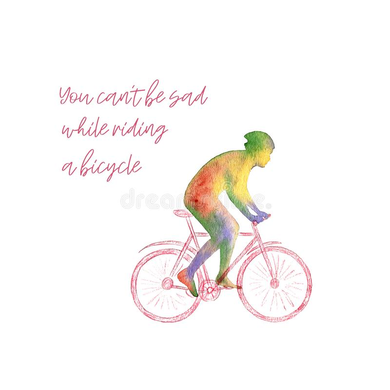 Colored watercolor poster with a silhouette of a man in a bicycle helmet riding a bike. Sport and leisure activity. Colored watercolor poster with a bright stock illustration