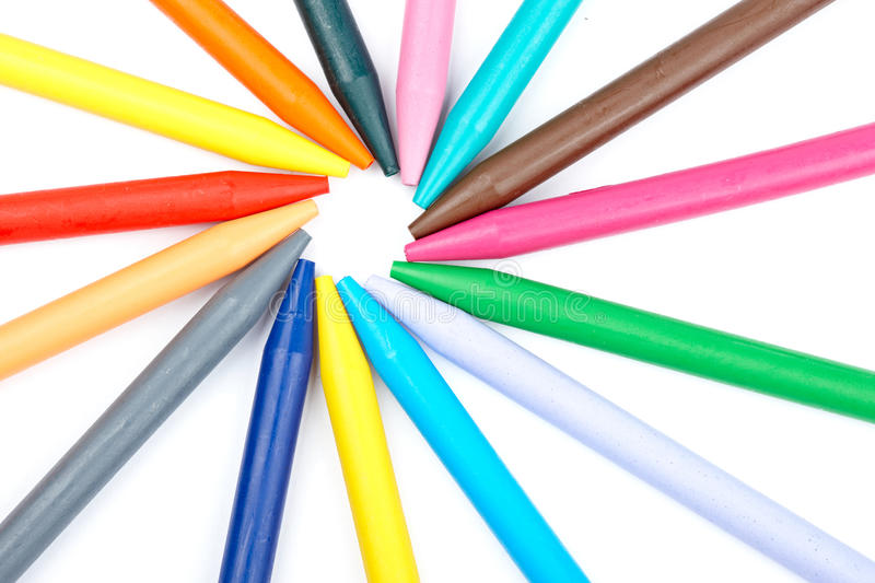 Colored wax crayons stock image