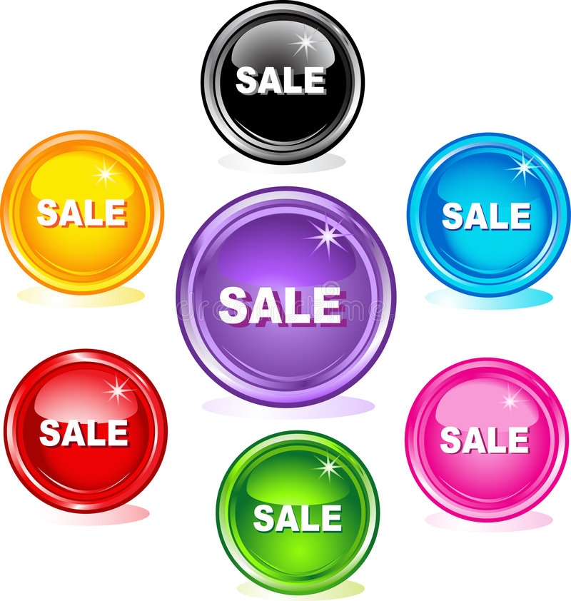 Colored web buttons, sale royalty free illustration