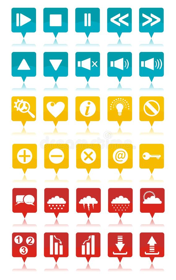 Colored web icons set stock images