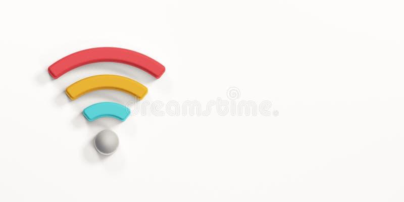 Colored WiFi Wireless Symbol. 3D Render Illustration. Colored WiFi Wireless Symbol. Concept of Communications stock illustration