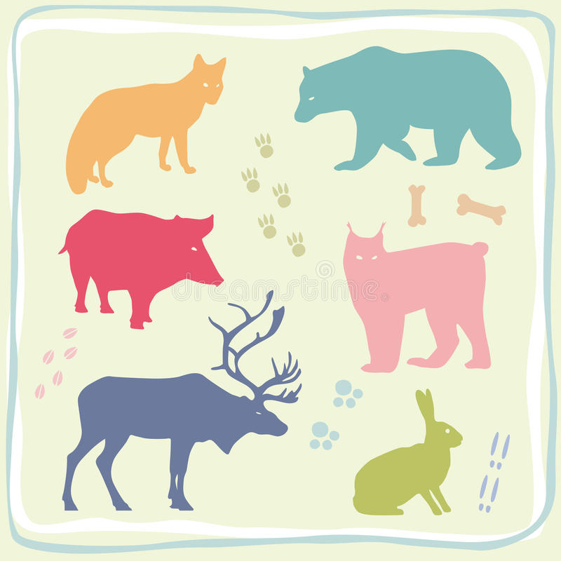 Download Colored Wild Animals' Set Stock Images - Image: 9734224