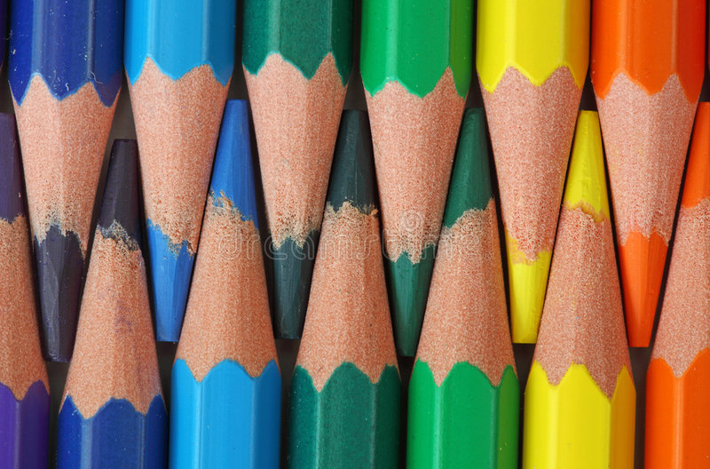 Colored wood-free pencils. Close up stock photo