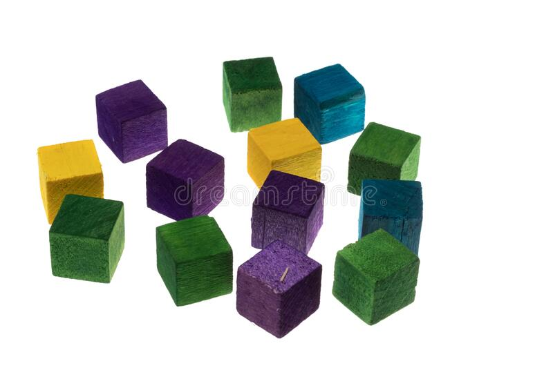 Colored wooden cubes for playing, building. Isolated on white royalty free stock images
