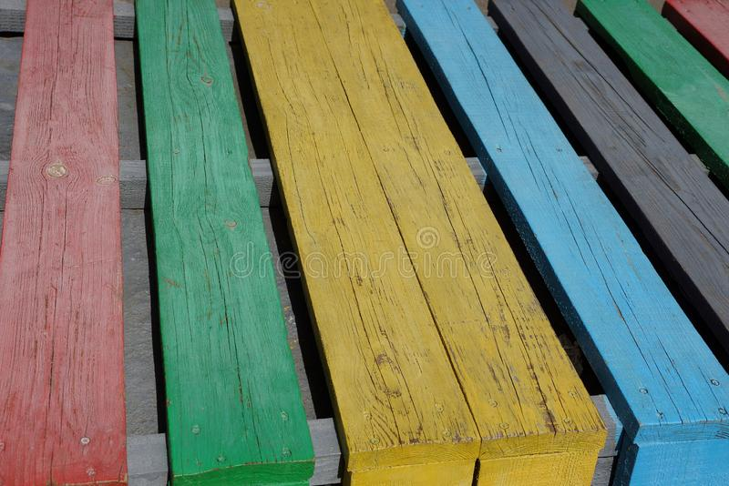 Colored wooden texture from wide covered boards. In the wall stock photography