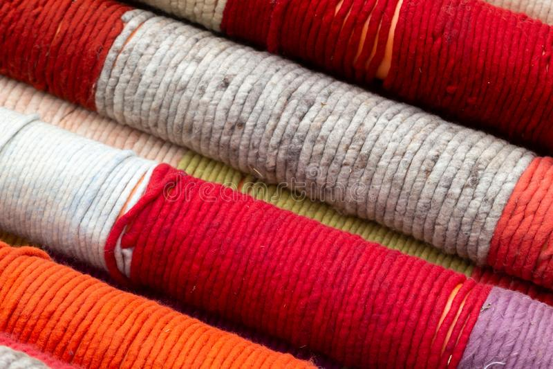 Colored wool yarn. Bucharest, Romania - June 11, 2019: Colored wool yarn are seen at a tradition fair in Bucharest. This image is for editorial use only royalty free stock photo