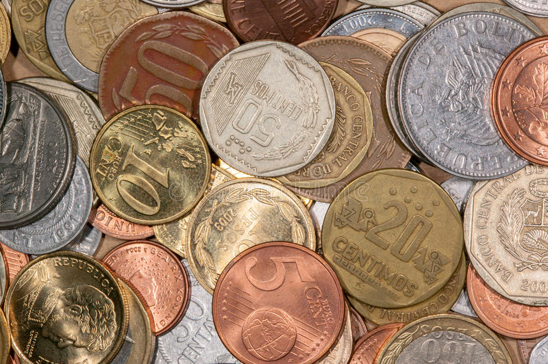 Colored world coins. A lot of differente colored world coins royalty free stock image