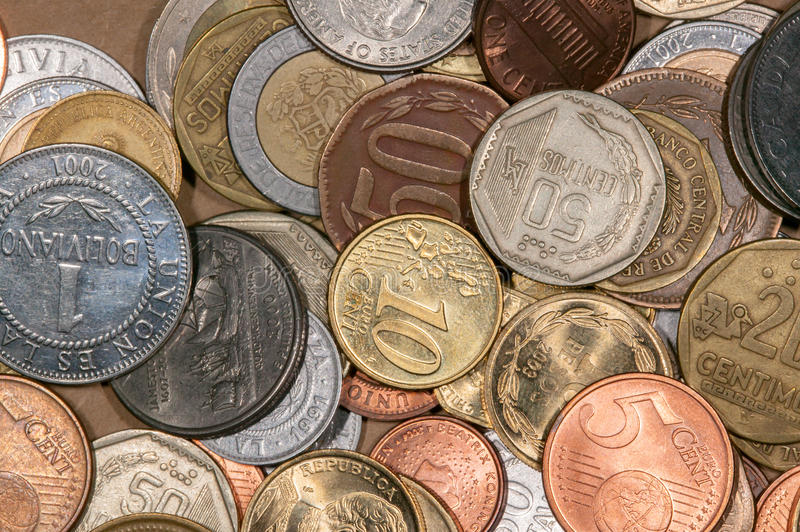Colored world coins. A lot of differente colored world coins royalty free stock photos