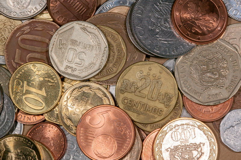Colored world coins. A lot of differente colored world coins stock photos