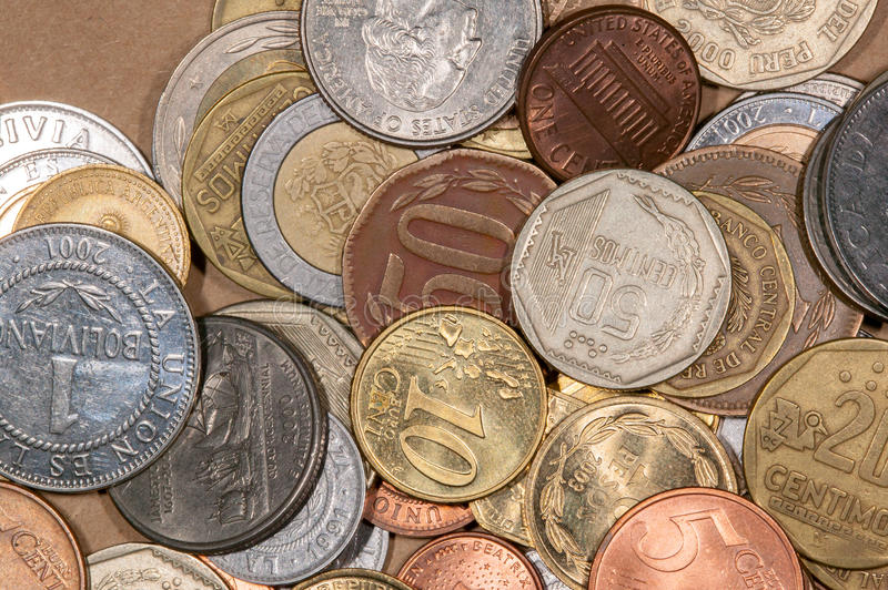 Colored world coins. A lot of differente colored world coins stock image