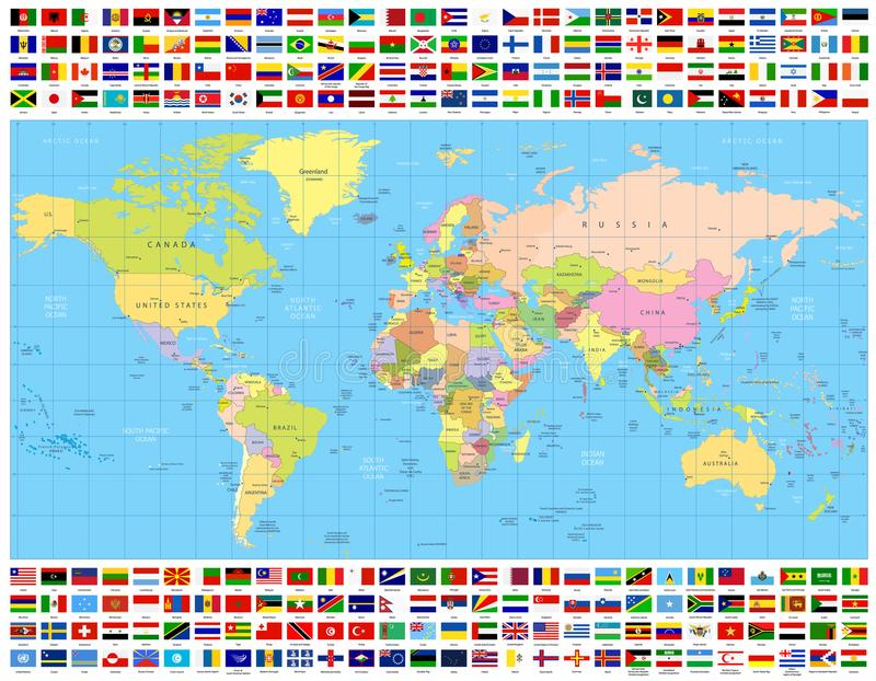 Colored world map and all world flags collection stock vector download colored world map and all world flags collection stock vector illustration of china gumiabroncs Gallery