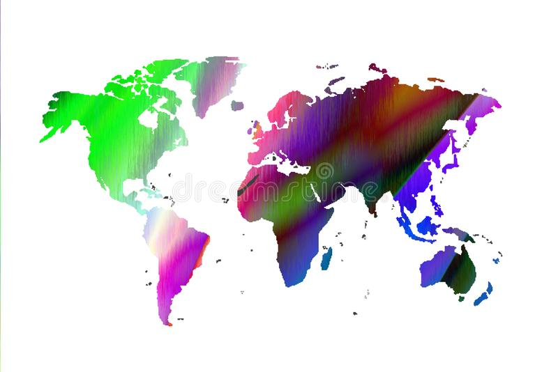 Colored world map royalty free stock photo