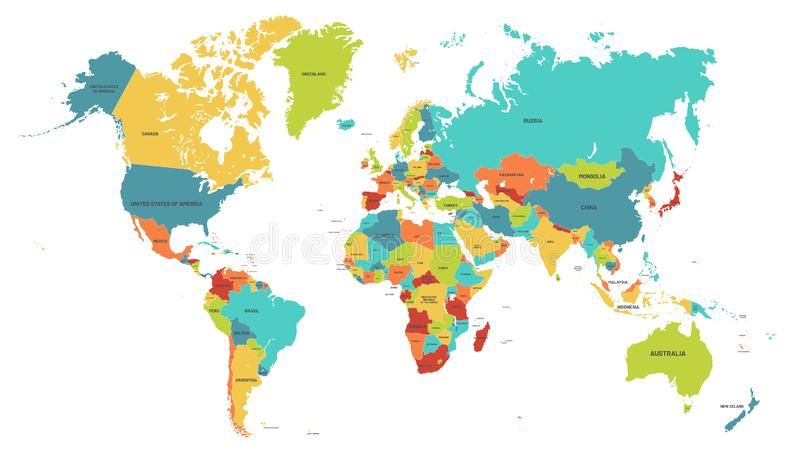 Colored world map. Political maps, colourful world countries and country names vector illustration royalty free illustration
