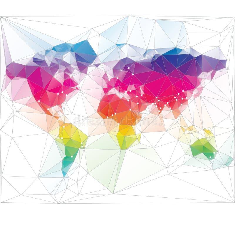 Colored world map triangle design. Colored world map triangle colourful design royalty free illustration