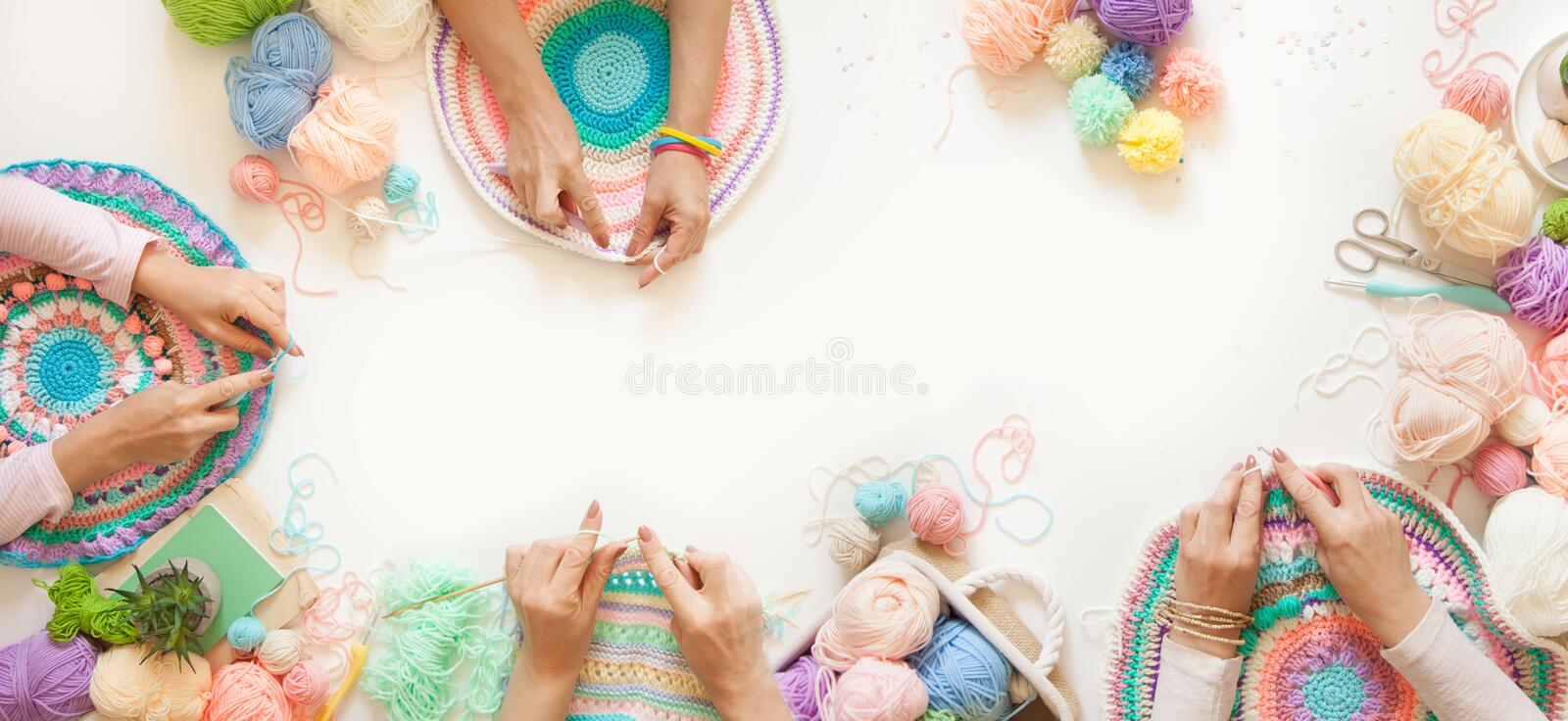 Master class on knitting. Women crochet and knit from colored yarn. Colored yarn. Women`s hands, Knitting needles, hooks, scissors and skeins of yarn vector illustration