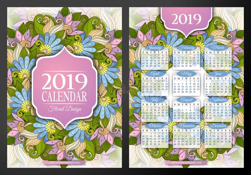 Colored 2019 Year Calendar Rectangular Template, Double-sided. Beautiful Abstract Flowers, Elegant Feminine Design. Corporate Identity, Flyer, Poster. Vector vector illustration